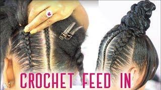 Crochet Feed In Braids + Top Knot Bun with Faux Bangs - NO GLUE