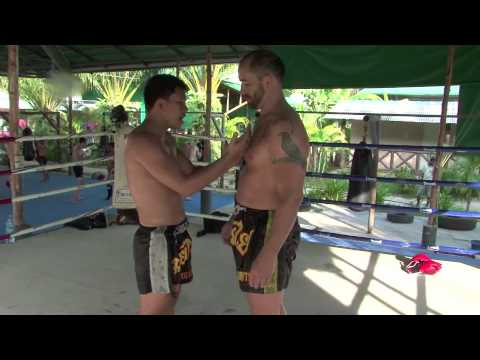 UFC vet Dave Menne works Muay Thai Clinching techniques with Kru Moo. Image 1