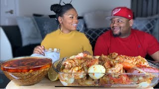 DESHELLED SEAFOOD BOIL| TIGER SHRIMP|LOBSTER TAILS | LOBSTER CLAWS| POTATOES| SAUSAGES