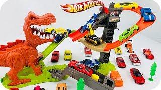 Dinosaurios para Niños - Hot Wheels Pista de Duelo T-Rex - Carritos para Niños