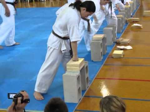 Kyokushin black belt grading breaking test Image 1