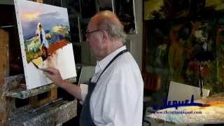 "01-Demonstration of knife painting by Christian Jequel: ""Harvest"""