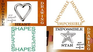 How to Draw 3D Illusions on paper   Step by Step Easy: IMPOSSIBLE Heart and IMPOSSIBLE Star