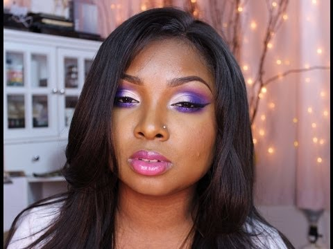Basket Ball Wives Evelyn Lozada Make up tutorial - Purple/glitter PLUS Bloopers