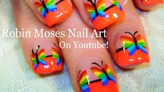 Nail Art | Easy Rainbow Butterfly Nails | Cool Neon Nail Design Tutorial