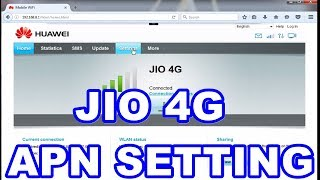 JIO 4G APN SETTING IN E8372 HUAWEI 4G WINGLE