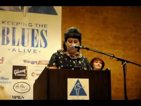 Hubert Sumlin's manager Toni Ann Mamary receives the 2012 Keeping The Blues Alive Award .AVI