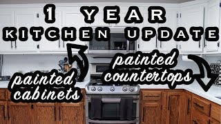 1 YEAR KITCHEN UPDATE WITH PAINTED COUNTERTOPS AND PAINTED CABINETS | ELA BOBAK