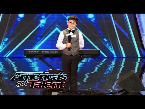 Adrian Romoff: 9-year-old Piano Player Wows Judges - America's Got Talent 2014 (highlight) video