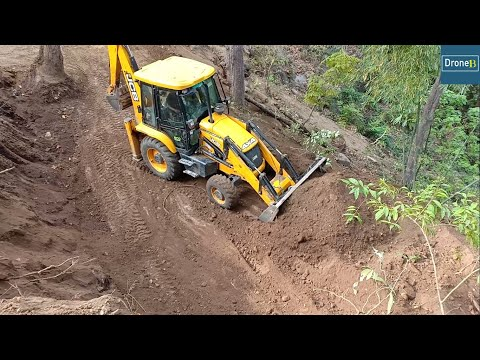 JCB Backhoe Loader-Clearing Narrow Road-Hilly Road Construction