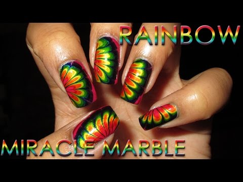 Rainbow Miracle Marble Stickers | Water Marble March 2016 #11 | Nail Art Tutorial