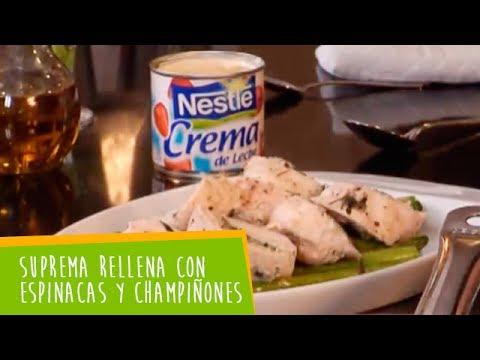 Recetas Nestlé: Suprema Rellena con Espinacas y Champiñones Cremosos