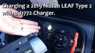Charging a 2019 Nissan LEAF with a J1772 standard charger.