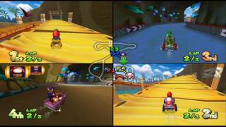 Mario Kart Double Dash!!: Dino Dino Jungle 4 player Netplay race 60fps