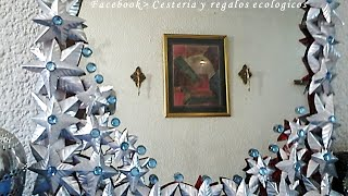 Como decorar un espejo con latas de aluminio. DIY How to decorate a mirror with aluminum cans