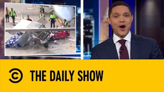 Heroic Airport Worker Rams Out Of Control Catering Truck | The Daily Show With Trevor Noah
