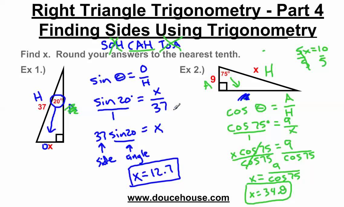 right triangle trigonometry finding sides youtube. Black Bedroom Furniture Sets. Home Design Ideas