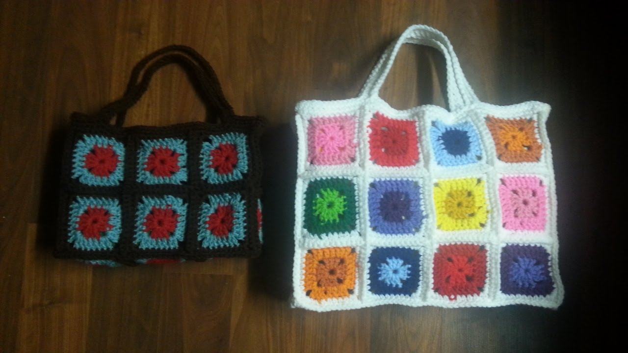 Crochet Bag Tutorial Youtube : Crochet Bag - Crochet Granny Square Bag - PART 1 TUTORIAL - YouTube