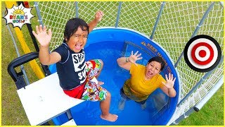 Ryan plays Dunk Tank Family Challenge with Daddy and Mommy!!