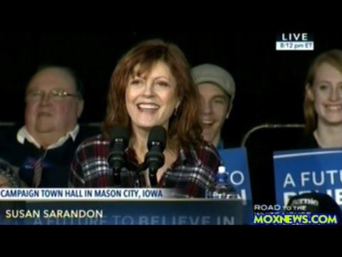 Susan Sarandon Introduces Bernie Sanders At Music Man Square Rally In Mason City Iowa