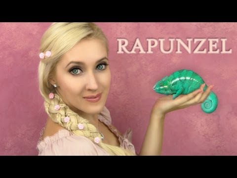 Rapunzel hair and makeup - 5 strand braid  tutorial   Tangled. If Disney Princesses were Real