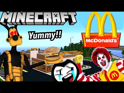 BENDY & BORIS GO TO MCDONALD'S IN MINECRAFT! (BATIM Minecraft)