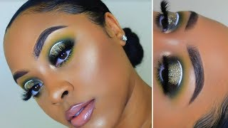 Green Smokey Halo Eyes + Glitter | Holiday Glam | Makeup Tutorial