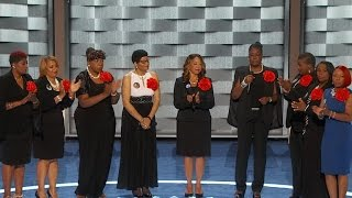 """""""Mothers of the Movement"""" speak on stage at DNC"""