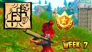 """Follow the treasure map found in Pleasant Park"" LOCATION GUIDE! Fortnite Week 7 Challenges!"