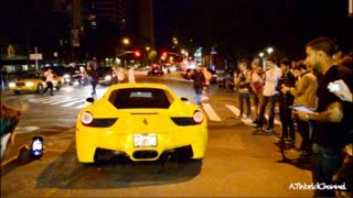 NYC Crowd Goes CRAZY for Ferrari 458 Italia! Street Revving