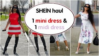Crossdresser - Shein haul - red and white dresses with OTK boots and white pumps | NatCrys