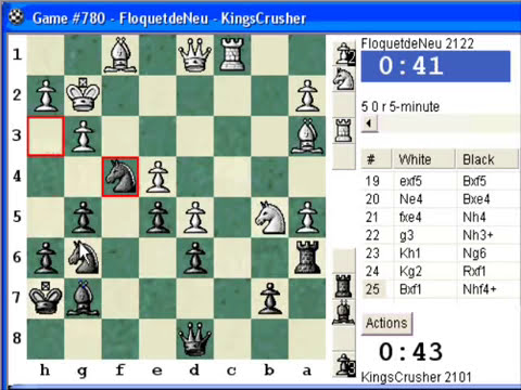 Chess World.net: Blitz #131 vs. FloquetdeNeu (2122) - King's Indian - Aronin-Taimanov, bayonet