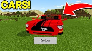 REALISTIC CARS in Minecraft Pocket Edition (How To Drive Cars in MCPE)