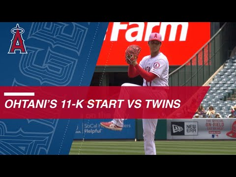Shohei Ohtani strikes out 11 over 6 1/3 innings vs. Twins