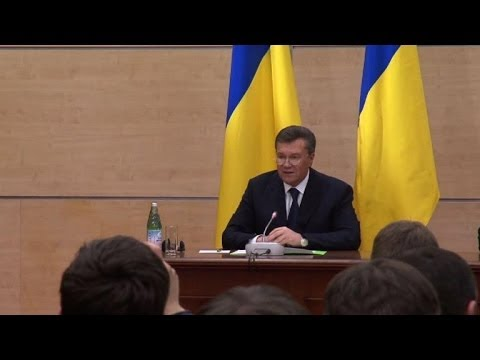Ukrainians in disbelief as Yanukovych speaks from Russia
