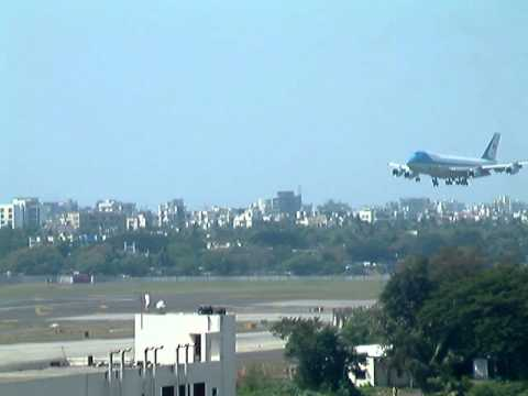 Air Force One lands in Mumbai