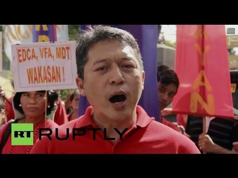 Philippines: Uncle Sam and Aquino BURN at anti-US demo