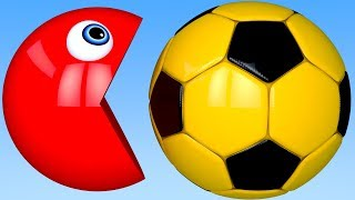 Learn Colors with PACMAN and 3D Soccer Ball Balloon for Kid Children