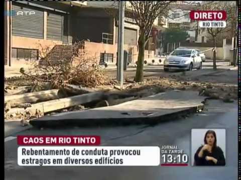 Rebentamento de conduta de �gua provoca caos no Rio Tinto