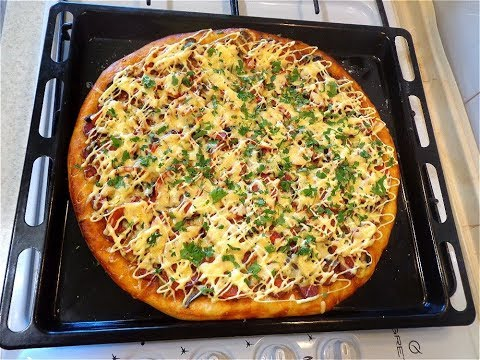 Пицца из творожного теста.  Празднично, вкусно!