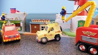 Fireman Sam Episodes Fire at the Railway Station Crash Car Firefighter Sam Jupiter Fire Station Toy