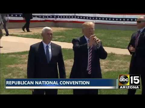 FULL: HE'S HERE! Donald Trump LANDS IN CLEVELAND! Watch his brief statement w/Mike Pence - #RNCinCLE