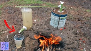 Hệ Thống Lọc Nước Nhiễm Phân Bò Thành Nước Tinh Khiết. Sinh Tồn Build Water Filter Tank Primitive