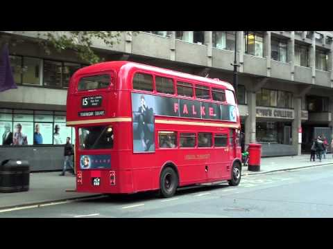 (HD) London Heritage Routemaster on Route 15 at Aldwych