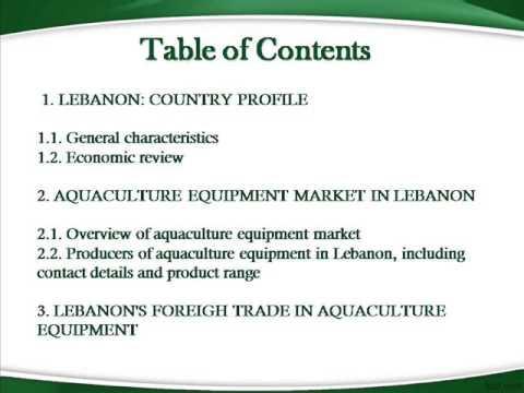 Bharat Book Presents : Aquaculture Equipment Market in Lebanon Business Report 2013
