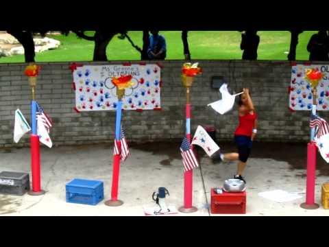 Flag Twirl Performance - Preschool Olympics - Eye of the Tiger