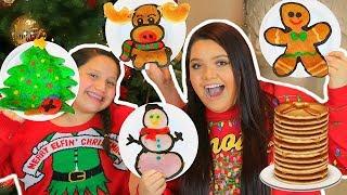 PANCAKE ART CHALLENGE! How To Make Holiday Art Pancakes!