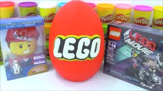 Giant Lego Play-Doh Surprise Egg with Minecraft Marvel and Transformer Toys