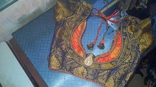 patchwork design less and patch make to design chittamani saree blouse design cut and stitch