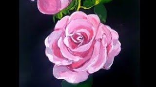 Painting a Pink Rose Flower in Acrylic || Easy Rose Painting